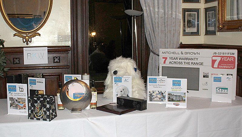 The Rainy Day Trust Prize Table - with prizes donated by suppliers.